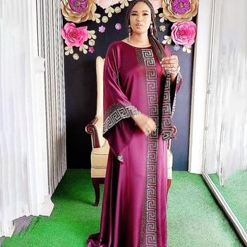 Vestido Dashiki de seda con cuentas Abaya Dubai, Maxi Bazin Africano de...
