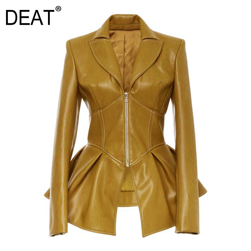 DEAT 2020 New Turn-down Collar Full Sleeves High Waist Zippers Short PU Leather Jacket Autumn And Winter Coat WJ74616