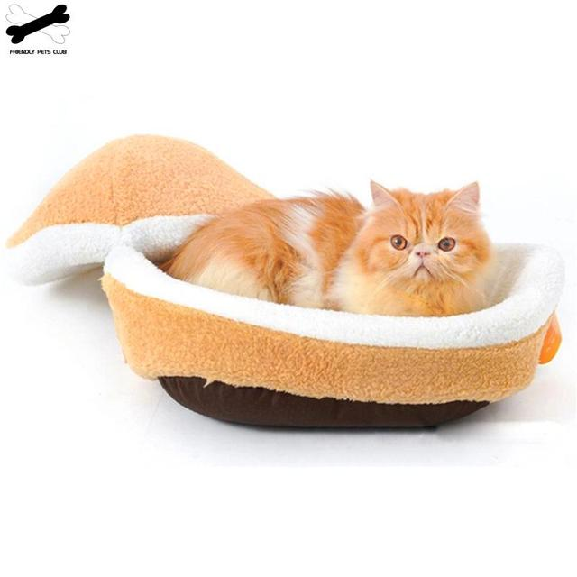 Cat Bed Sleeping Bag Sofas Mat Hamburger Dog House Short Plush Small Pet Bed Warm Puppy Kennel Nest Cushion Pet Products 2