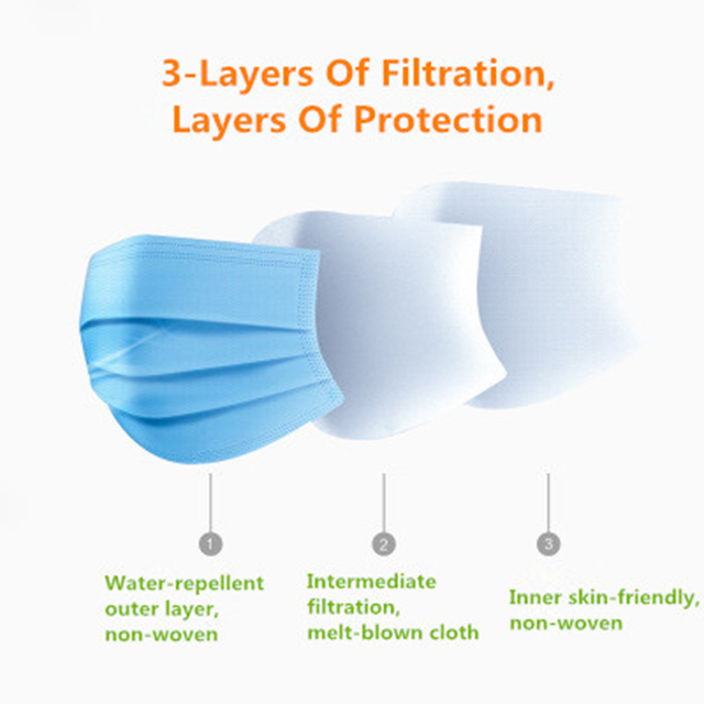 100/50/30/10Pcs Medical Mask Disposable Face Mouth Mask Filter Anti Medical Disposable Mask 3-Layers Protective Baby Adult Mask 2