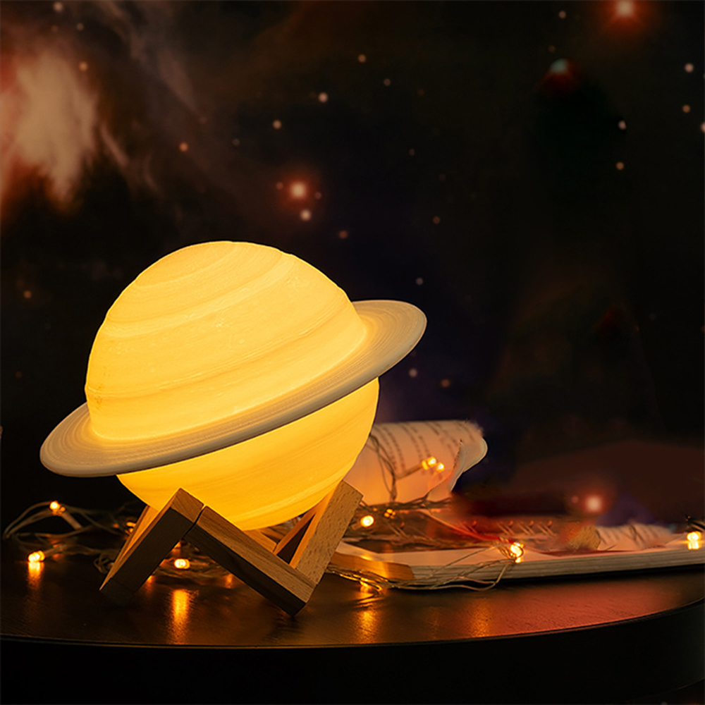 2019 Saturn Lamp With Holder 3D Printing USB Charging Like Moon Lamp Dimmable Remote Control Night Light Birthday Christmas Gift