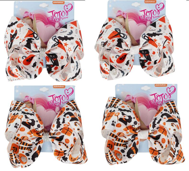 2019 Halloween Hair Bows Clips 8inch large bowknot crocodile clip print Grosgrain Ribbon Accessories For Girls Baby Toddlers