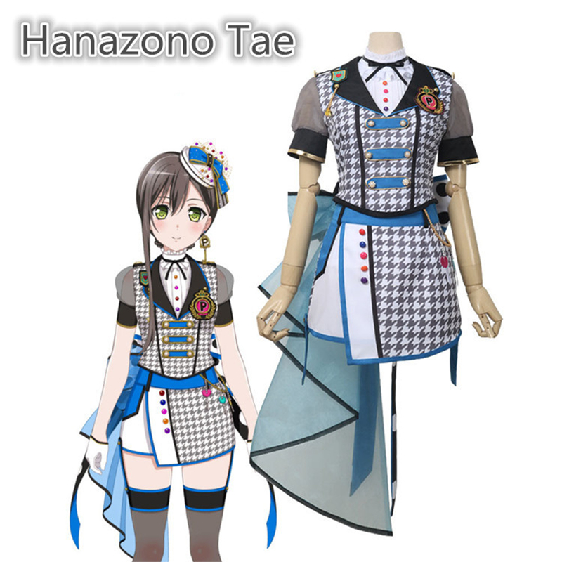 Anime Bang Dream! Poppin'Party Hanazono Tae Cyberpunk Suit Cosplay Costume Women Halloween Gorgeous Dress H(China)