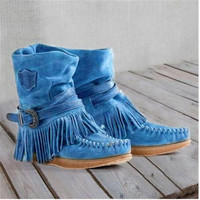 Women Tassel Boots British Style Cuff High Frosted Snow Boots Elevator Wedge Shoes Female Fashion Casual Flat Shoes