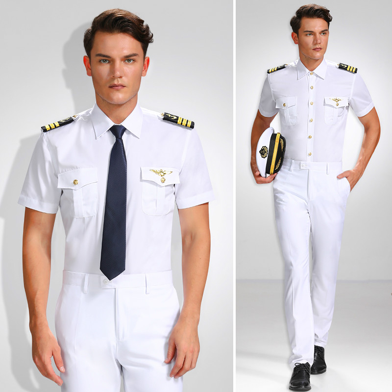 Male Navy Shirt Aviation Pilot Shirt Ship Sailor Uniform Seaman Shirts Officer Men Performance Costume Homme White Shirt