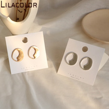 Matte gauze gold metallic wind earrings with hollow circular design hand made minimalist Earrings S925 silver needle