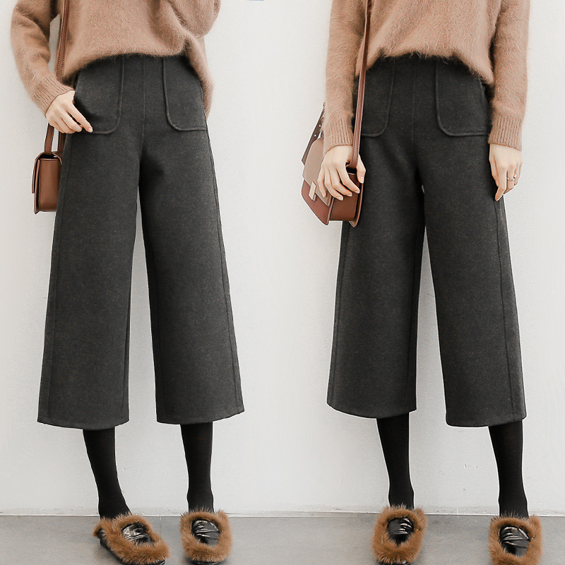 Pants Women's 2019 Korean-style New Style Autumn And Winter Thick Loose-Fit High-waisted Loose Pants Capri Pants Women's