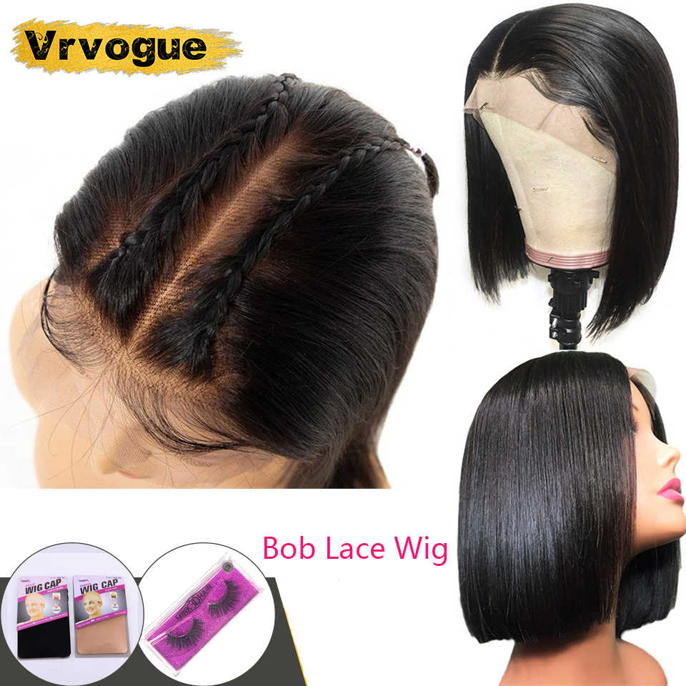 Vrvogue Short Bob Lace Front Human Hair Wigs Brazilian Straight  Hair Wigs Pre Plucked Baby Hair For Black Women Free to Brazil
