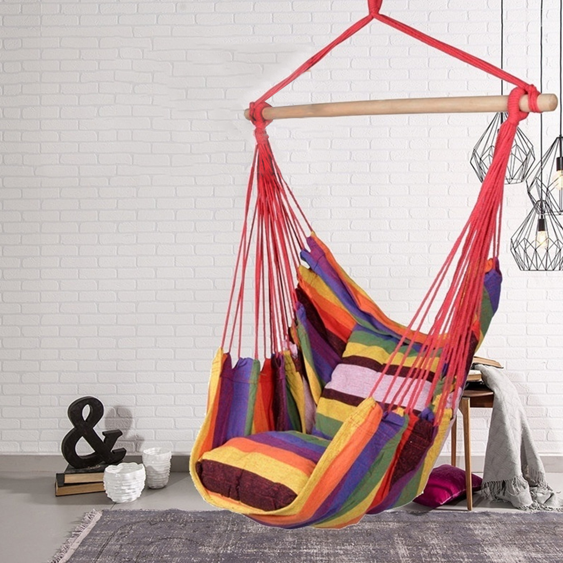 Portable Hammock Chair Hanging Rope Chair Swing Chair Seat With 2 Pillow Hammock Chair Swing Chair Seat Travel Camping Hammock