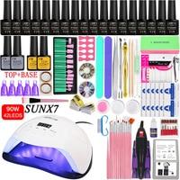 18 Color Gel Nail Polish Varnish Extension Kit with 36w/48w /90w Led Uv Nail Lamp Kit for Manicure Set Acrylic Nails Art Tools