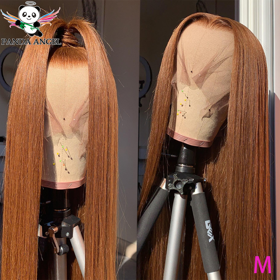 #30 Colored Human Hair Wigs Ginger Brazilian Straight Lace Front Human Hair Wig For Women Remy 150% Transparent Lace Wigs Panda