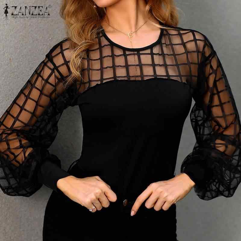 S 5XL 2020 Lente Mesh Patchwork Shirt Fashion Sexy Sheer Zwarte Blouse Zanzea Vrouwen Lange Pufff Mouwen Party Blusas Tuniek tops