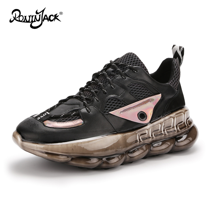 Chunky Sneakers For Women Real Leather Casual Shoes Soft Breathble Lovers Luxury Sneakers Moda Mujer 2020 Tenis Feminino Size 43