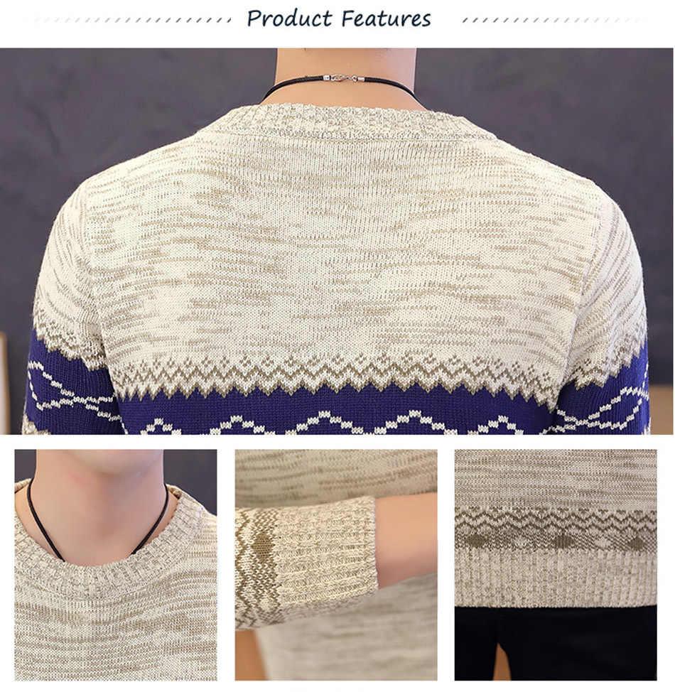 Jerseys y Pullovers de estilo delgado de la Marina para hombre Jersey de punto de manga larga para hombre jerseys de invierno de alta calidad abrigo de poliéster cálido