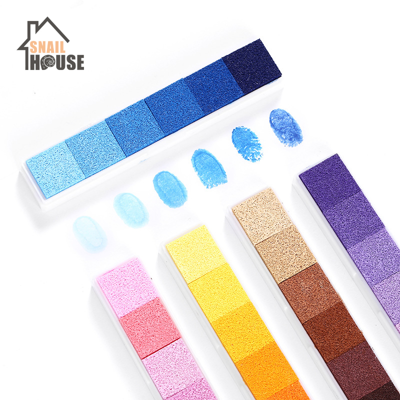 Snailhouse Non-Toxic Gradient Color Ink Pad Children Diy Finger Painting Pad Rubber Stamp Children Hand Account Graffiti Inkpad