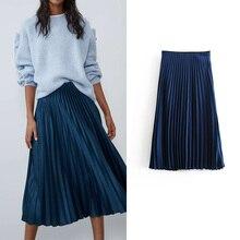 Stylish za pleated skirts womens slik and satins slip long skirt