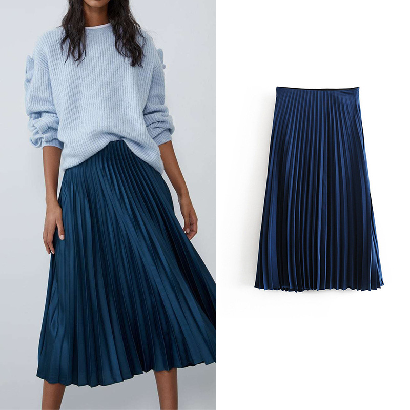 Stylish Za Pleated Skirts Womens Slik And Satins Slip Long Skirt Vintage Casual Faldas Mujer Moda 2019