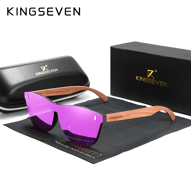 KINGSEVEN Wooden Sunglasses Oculos-De-Sol Polarized Natural Men Fashion Original Bubinga