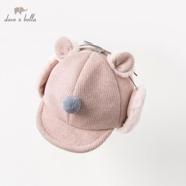 DB11825 デイブベラ冬女の赤ちゃん帽子キャップ子供ピンクブティック