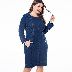 """Image 3 - ח""""כ 2019 חורף נשים בתוספת גודל ג ינס שמלת אופנה גבירותיי בציר ארוך שרוול סתיו midi שמלה"""
