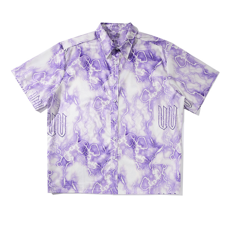 Mens Lightning Print Hawaiian Shirts Harajuku Streetwear 2020 Summer Short Sleeve Blouse Punk Rock Unisex Oversize Shirts Tops