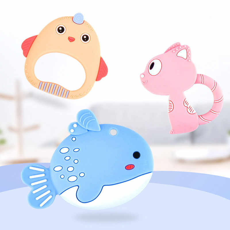 Food Grade Baby Silicone Teethers BPA Free Teething Toy Rodent Animal Cat Fish Baby Ring Teether Silicone Beads DIY Chain Kids