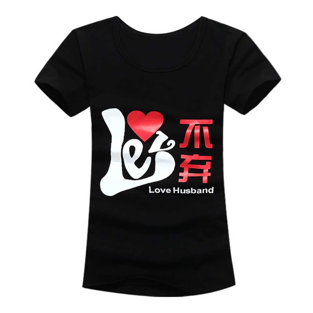 الحب الصينية طباعة الصيف عادية قصيرة الأكمام الجولة الرقبة تي شيرت أفضل زوجين المحملة السيدات طباعة مستديرة الرقبة تي شيرت