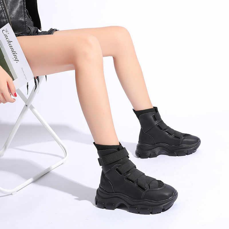 Cootelili mulher botas de inverno 2019 popular 5 cm alta sapatos plataforma tênis preto tornozelo botas para a mulher bota
