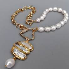 YYGEM Natural Cultured White Rice Pearl Chain Necklace Electroplated Biwa Pearl Pendant 19''
