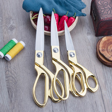 Pulaqi Gold Scissors Sewing Cut Craft Fabric Dressmaking Scissor Upholstery Tool Textile Leather denim Cutter Tailor Shear tailor shear sewing cut pinking scissor leather craft fabric upholstery tool textile denim cutter sewing tool gold