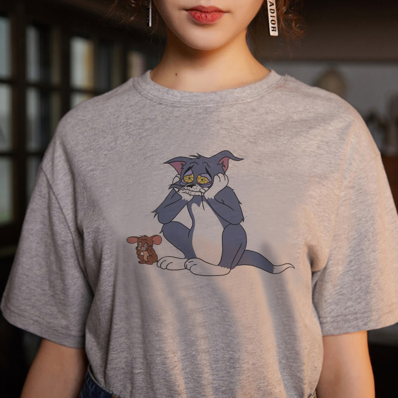 2020 Summer New Ulzzang Harajuku Funny Kawaii TOM Cat And Jerry Mouse Print T-shirt Vogue Loose Gray O-neck Casual Female Tshirt