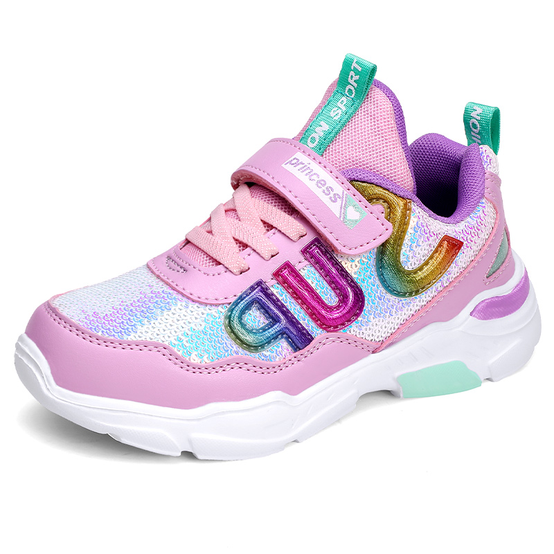ULKNN Pink Sneakers For Girls Fly Woven Mesh Breathable Casual Sports Shoes Princess Casual Shoe Children Sports Shoes Students