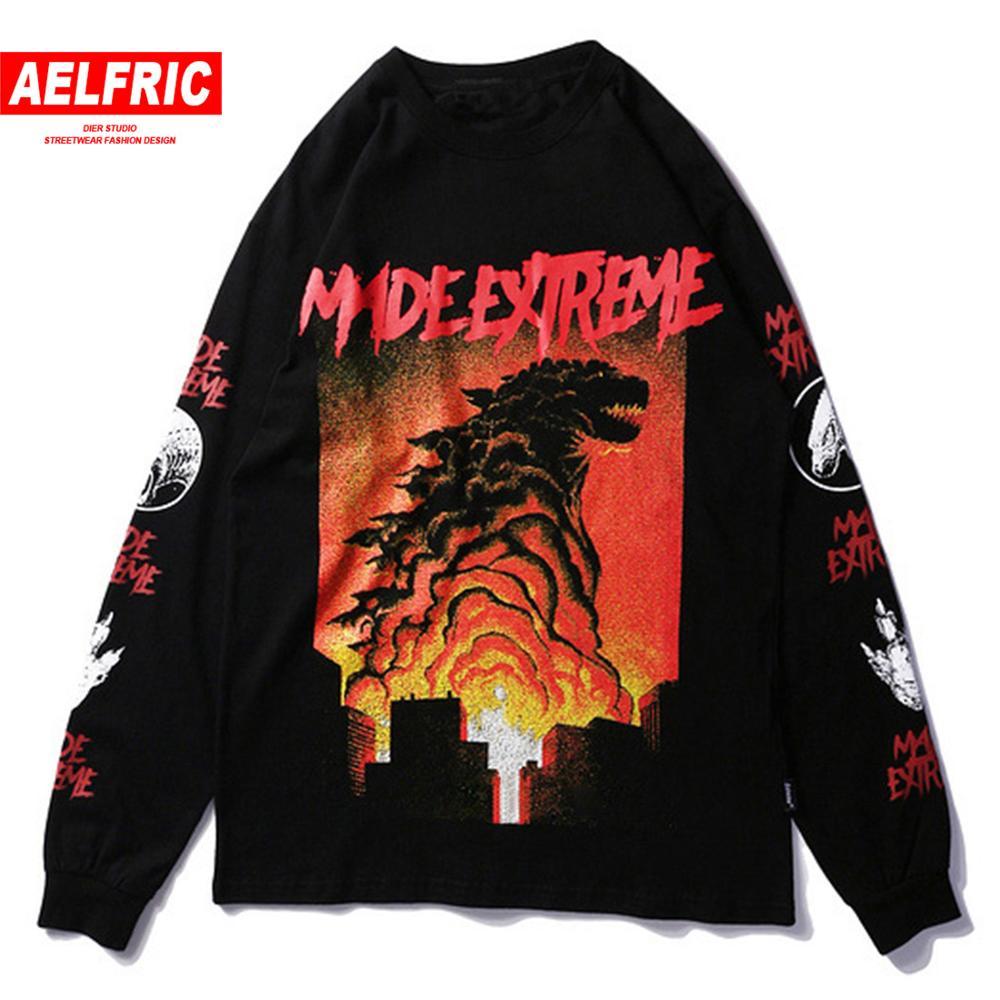 Aelfric 2019 japão estilo topos monstro impresso camiseta feminina verão manga longa hip hop algodão t camisa harajuku streetwear tshirt