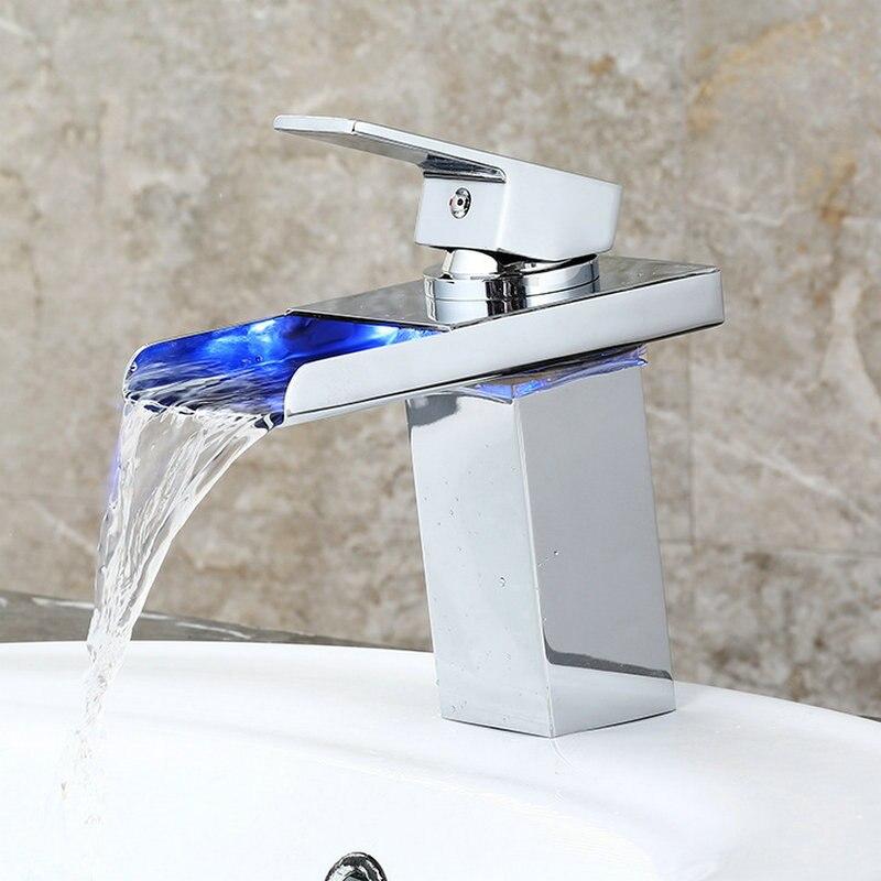 Plein cuivre LED blanc fissuré verre contrôle de température LED eau chaude large bouche cascade robinet