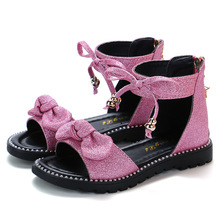 New 2020 Summer Girls Sandals Fashion Bowknot Zipper Princess Girls Shoes Children Kids Baby Party Flat Sandals Shoes A857