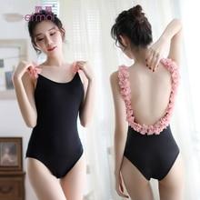 Sexy Opensuit One Piece Swimsuit Temptation Woman Erotic Lingerie Halter Dark Buckle Uniform lingerie one piece