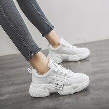 Zapatillas de deporte gruesas para mujer, zapatos vulcanizados blancos, informales, a la moda, para papá, zapatillas con plataforma, 2019Zapatos vulcanizados de mujer