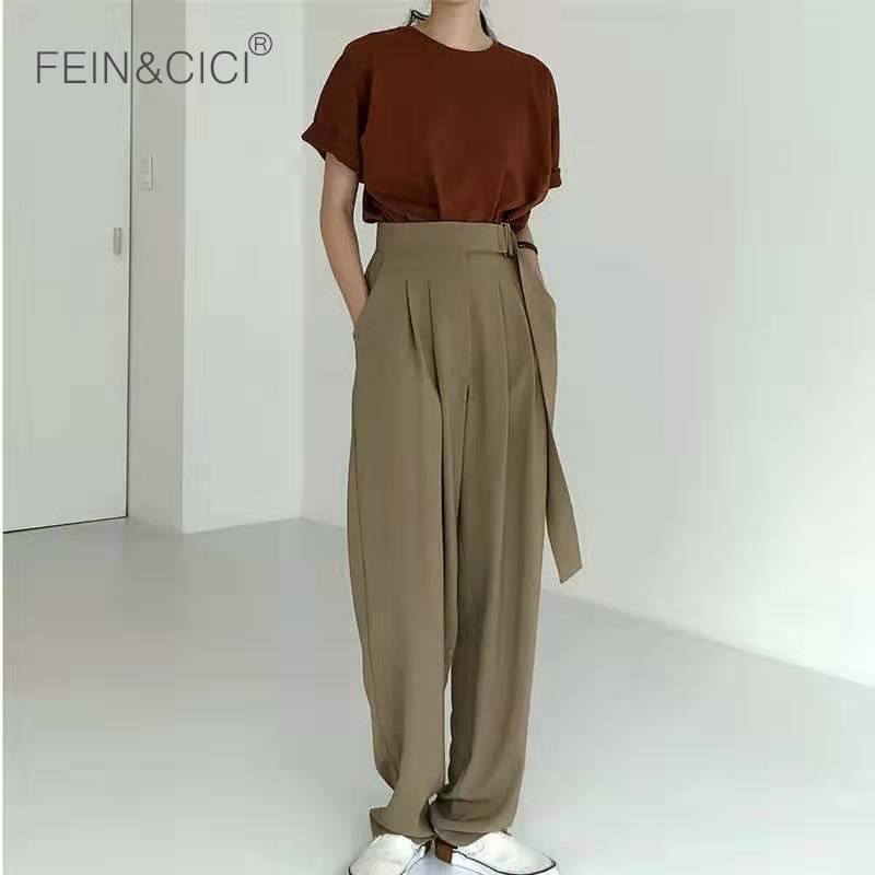 Wide     leg     pants   with belt 2019 new ins chic women female casual loose   wide   palazzo   pants   high wasit high quality