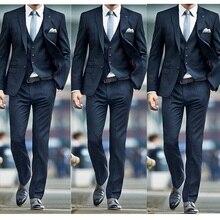 Новая мода темно-синие мужские свадебные костюмы смокинги для жениха классический наряд мужские блейзеры из 3 предметов мужская одежда(куртка+ брюки+ жилет