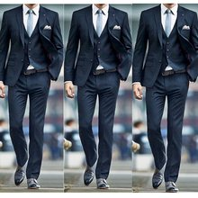 New Fashion 2019 Navy Men Suits for Wedding Groom Tuxedos Classic outfit Man Blazers 3Pieces Groomsmen Wear (jacket+pant+vest)(China)