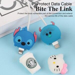 Image 2 - USB kablosu Minnie koruyucu hayvan sevimli karikatür kapak korumak için Iphone kablo kulaklık kablosu arkadaşlar cep telefonu dekor tel