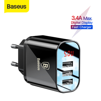 Baseus 3 Ports Charger with Digital Display 3.4A Max Fast Charging Wall Adapter Charger For Phone