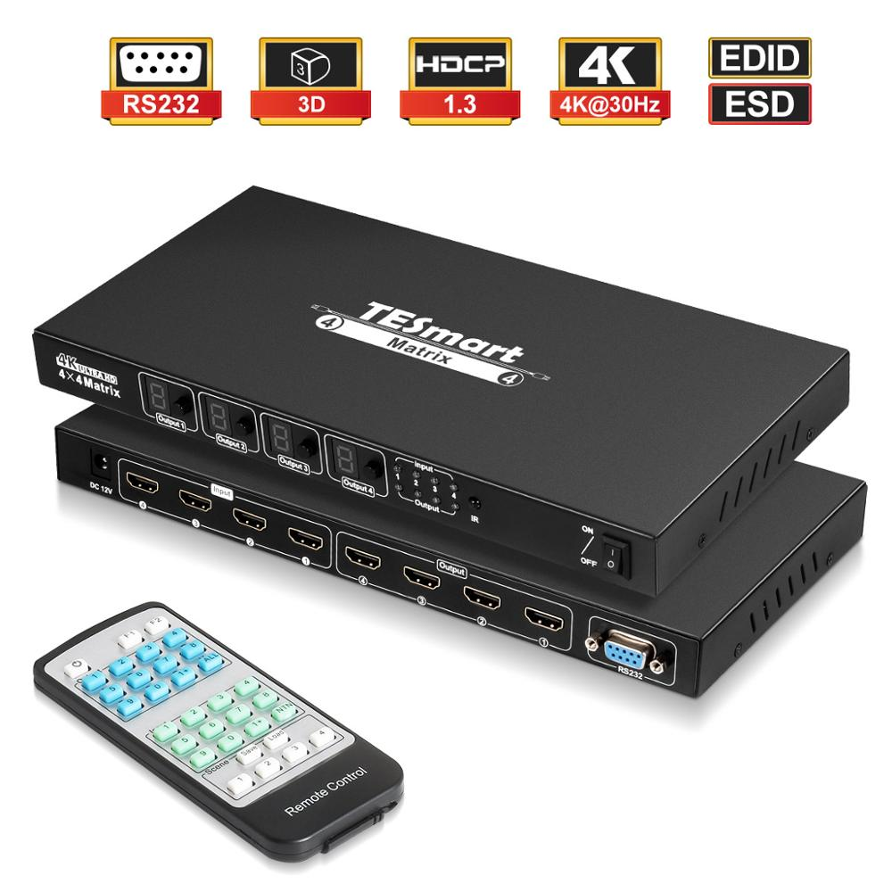 TESmart Ultra HD 4K HDMI 4X4 Matrix Switcher 4 Ports Inputs And 4 Port Outputs With RS232 IR Remote Control Supports 4Kx2K@30HZ