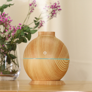 USB 130ml Wood Grain Air Humidifier With LED Night Light Essential Oil Aroma Diffuser Ultrasonic Cool Mist Maker Aromatherapy funho 500ml air humidifier essential oil diffuser ultrasonic aromatherapy mist maker 7 color change led night light for home