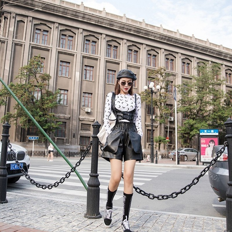 Top Quality Womens Elastic High Waist Wide Leg Shorts Sheepskin Genuine Leather Pockets Flare Loose Short Taille Haute Femme