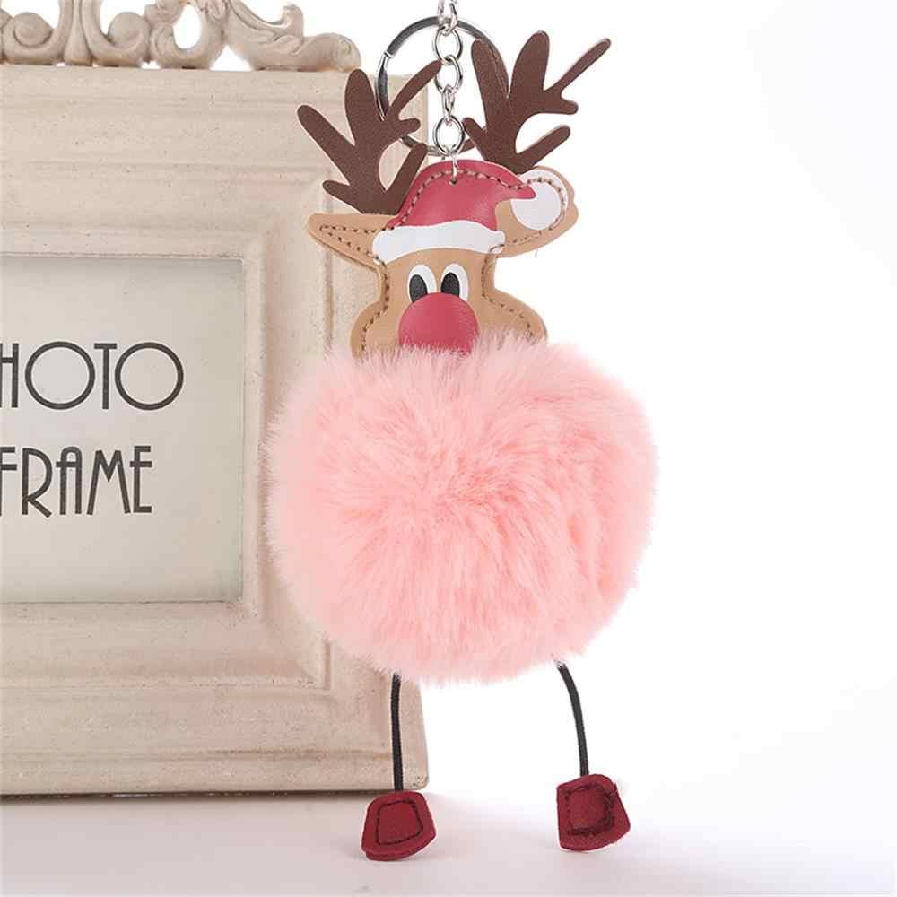Veados de natal adorável fofo pompom falso pele de coelho pelúcia boneca chaveiro bolsa chaveiro moda jóias presente natal