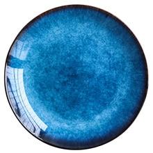 RUX WORKSHOP Ceramic Western Style Blue Round Flat Tray Food Steak Dinner Plate Tableware