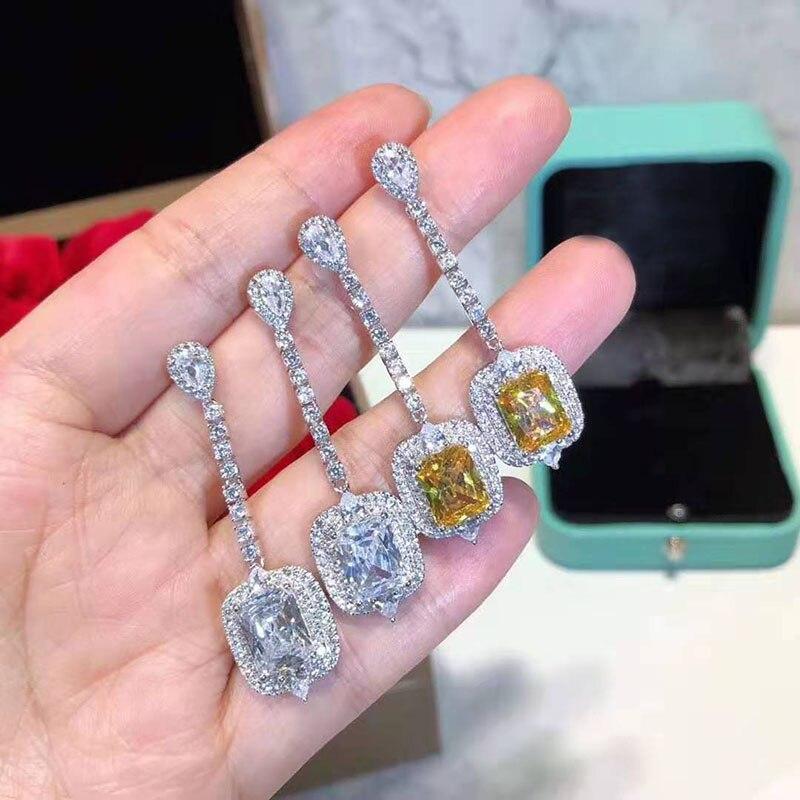 Luxe 925 en argent Sterling Long gland cercle AAA Zircon cristal boucles d'oreilles pour les femmes en argent Sterling bijoux