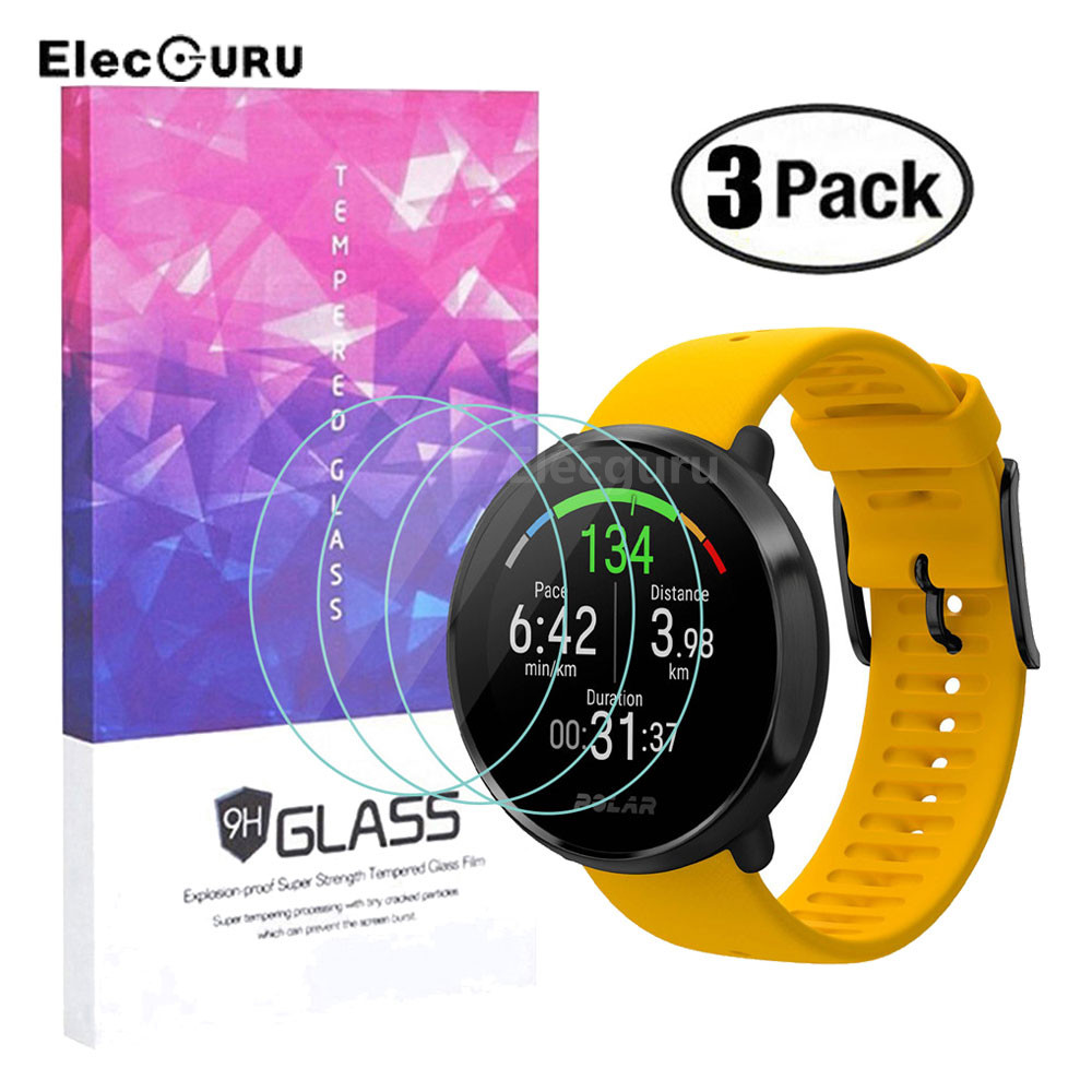 Tempered Glass Screen Protector For Polar Ignite Smart Watch,9H 2.5D Clear Scratch Resistant Bubble-free Protective Film,3 Pack