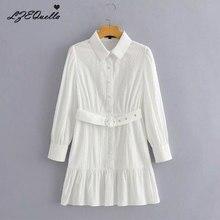 Lzequella moda feminina camisa branca vestido sólido manga longa botão cinto babados mini vestidos senhora do escritório vestidos nz3498